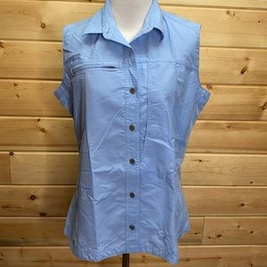 Mountain Hardwear Blue Nylon Sleeveless Button Up